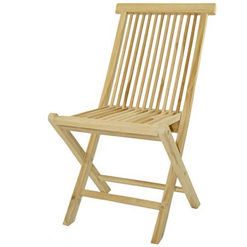 DIVERO Gartenstuhl mit Armlehne Klappstuhl Stuhl Teak Holz behandelt massiv