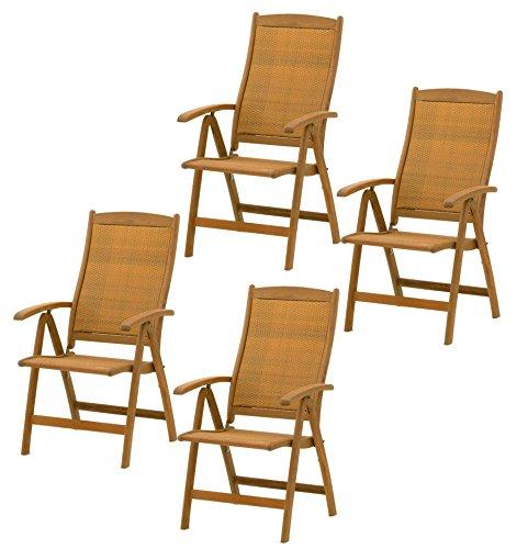 Belardo Hartholz Rattan Garten Sessel Stuhl Set   ähnlich Wie (4er Set)